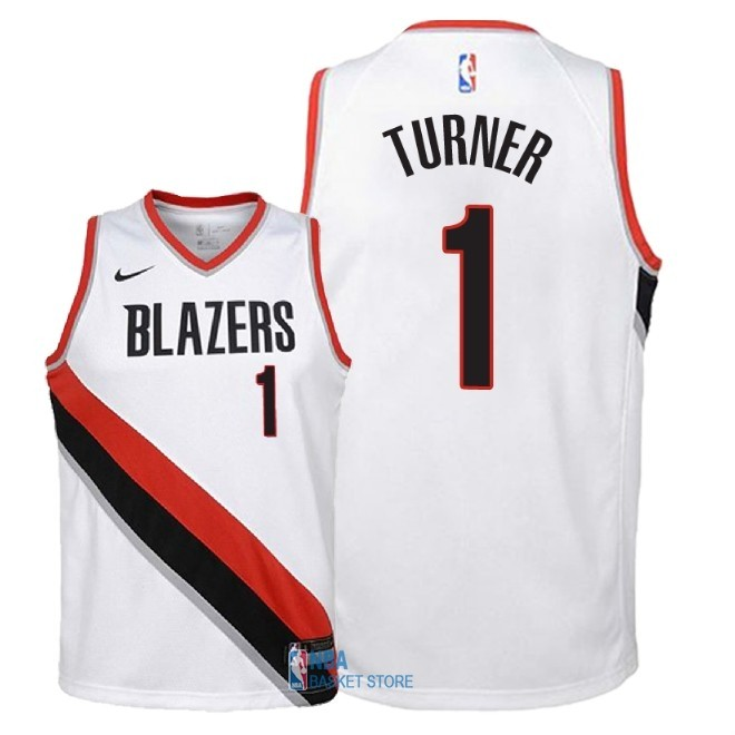 Achat Maillot NBA Enfant Portland Trail Blazers NO.1 Evan Turner Blanc Association 2018