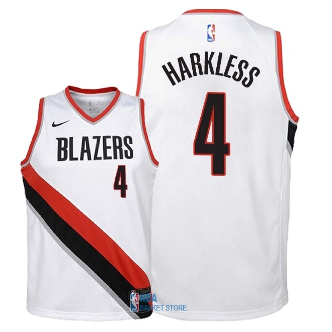 Achat Maillot NBA Enfant Portland Trail Blazers NO.4 Maurice Harkless Blanc Association 2018