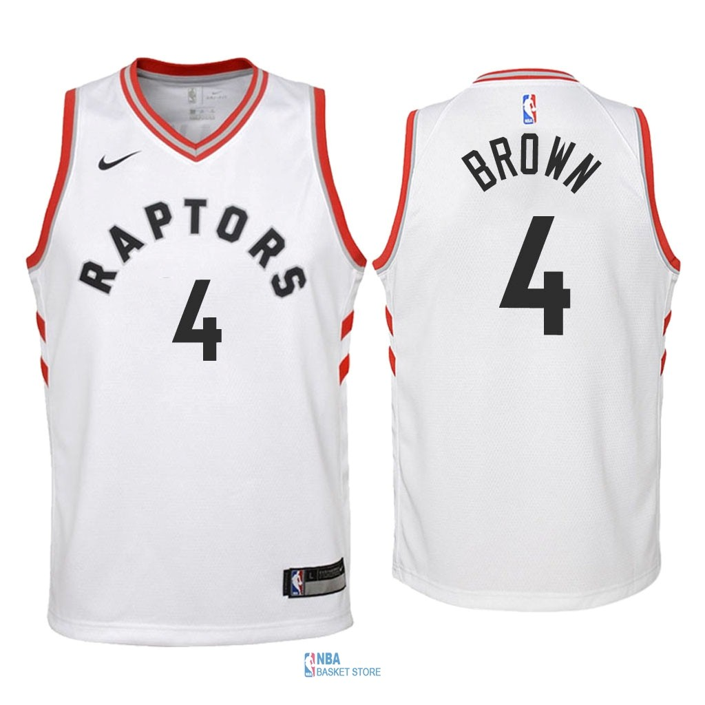 Achat Maillot NBA Enfant Toronto Raptors NO.4 Lorenzo Brown Blanc Association 2018