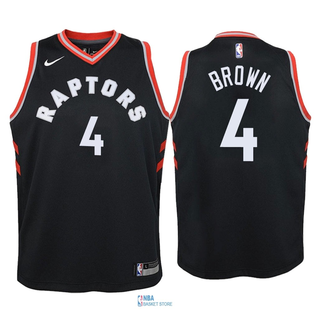 Achat Maillot NBA Enfant Toronto Raptors NO.4 Lorenzo Brown Noir Statement 2018