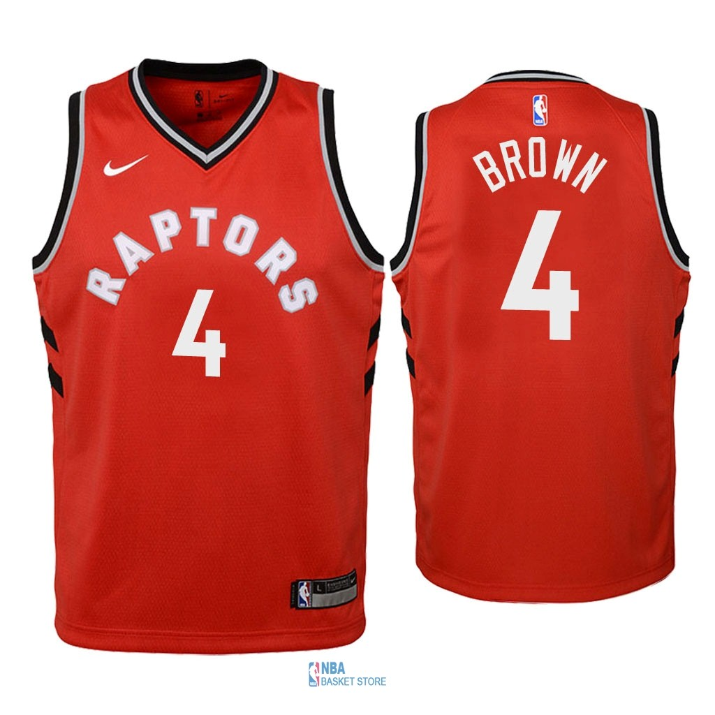 Achat Maillot NBA Enfant Toronto Raptors NO.4 Lorenzo Brown Rouge Icon 2018