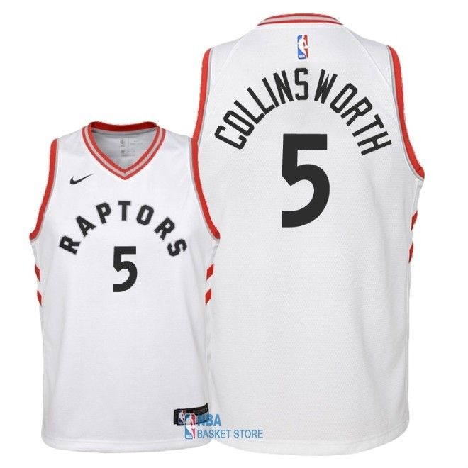 Achat Maillot NBA Enfant Toronto Raptors NO.5 Kyle Collinsworth Blanc Association 2018