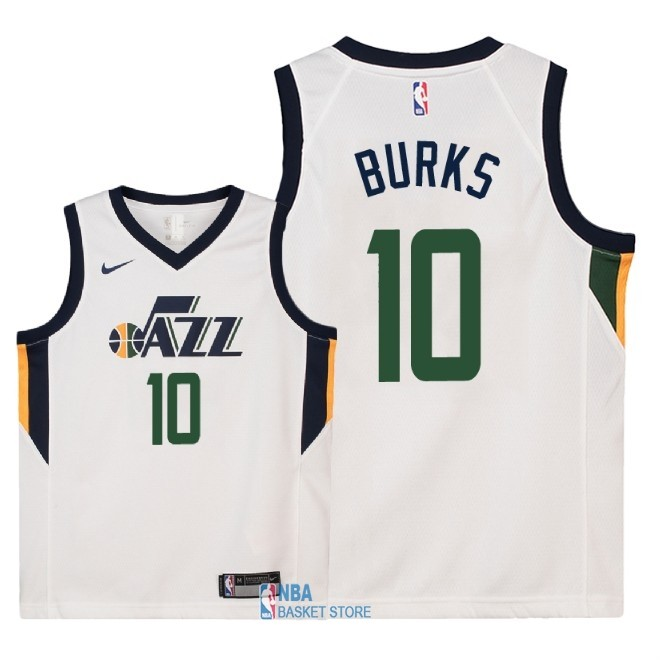 Achat Maillot NBA Enfant Utah Jazz NO.10 Alec Burks Blanc Association 2018