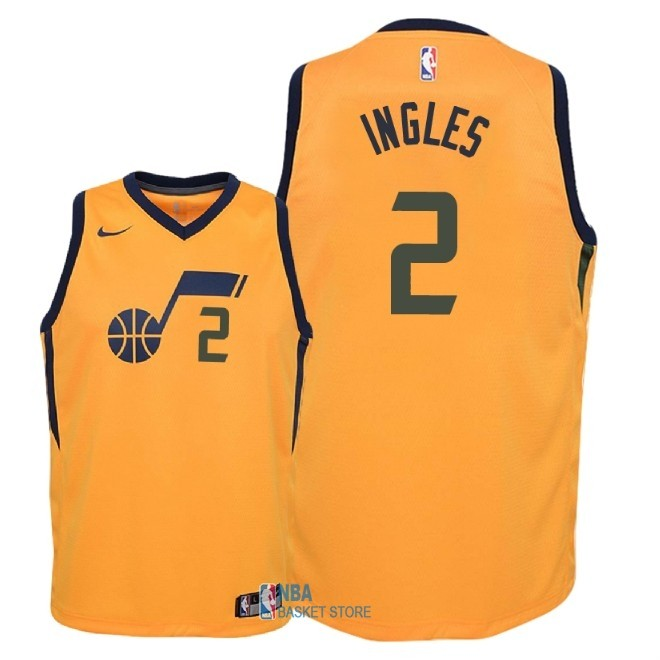 Achat Maillot NBA Enfant Utah Jazz NO.2 Joe Ingles Jaune Statement 2018