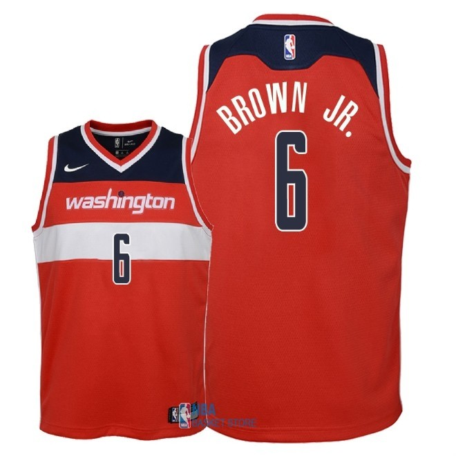 Achat Maillot NBA Enfant Washington Wizards NO.6 Troy Brown Jr Rouge Icon 2018