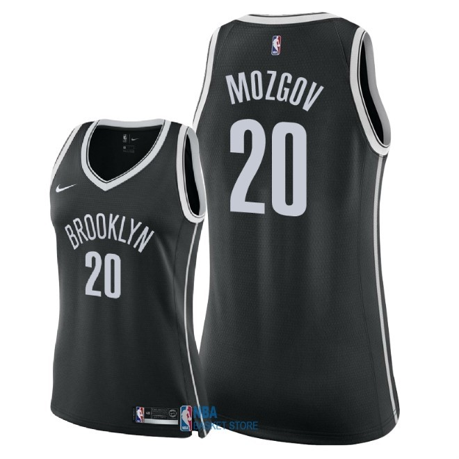 Achat Maillot NBA Femme Brooklyn Nets NO.20 Timofey Mozgov Noir Icon 2018