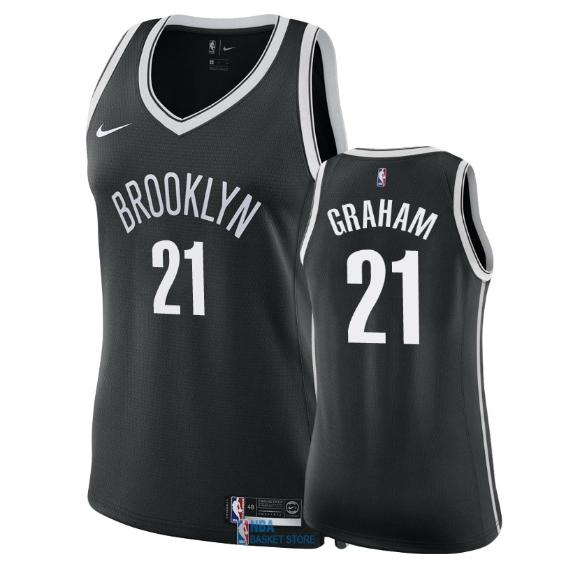 Achat Maillot NBA Femme Brooklyn Nets NO.21 Treveon Graham Noir Icon 2018