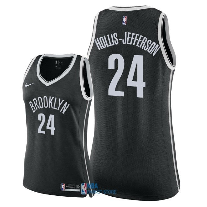 Achat Maillot NBA Femme Brooklyn Nets NO.24 Rondae Hollis Jefferson Noir Icon 2018