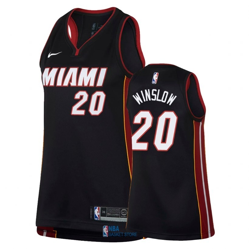 Achat Maillot NBA Femme Miami Heat NO.20 Justise Winslow Noir Icon 2018