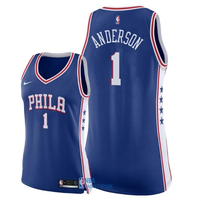 Achat Maillot NBA Femme Philadelphia Sixers NO.1 Justin Anderson Bleu Icon 2018