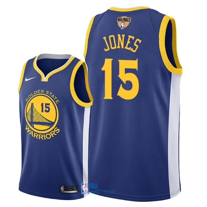 Achat Maillot NBA Golden State Warriors 2018 Final Champions NO.15 Damian Jones Bleu Icon Patch
