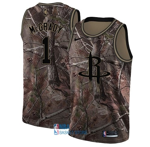 Achat Maillot NBA Houston Rockets NO.1 Tracy McGrady Camo Swingman Collection Realtree 2018