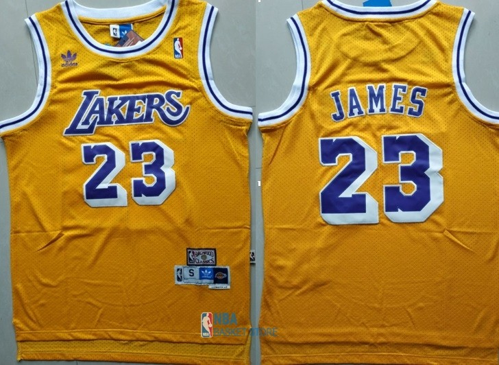 Achat Maillot NBA Los Angeles Lakers NO.23 Lebron James Retro Jaune