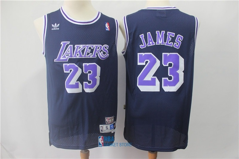 Achat Maillot NBA Los Angeles Lakers NO.23 Lebron James Retro Noir Pourpre