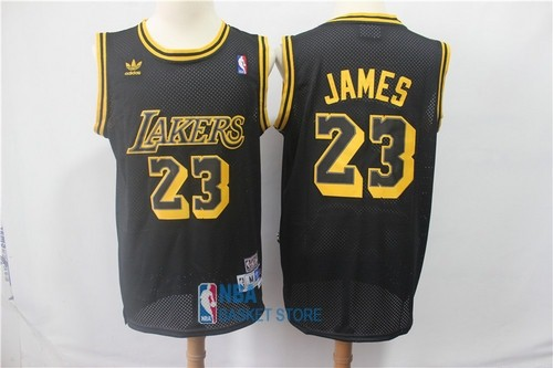 Achat Maillot NBA Los Angeles Lakers NO.23 Lebron James Retro Noir