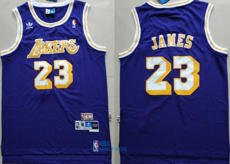 Achat Maillot NBA Los Angeles Lakers NO.23 Lebron James Retro Pourpre