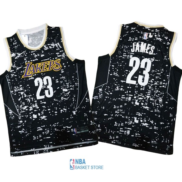 Achat Maillot NBA Los Angeles Lakers Ville Lumières NO.23 LeBron James Noir