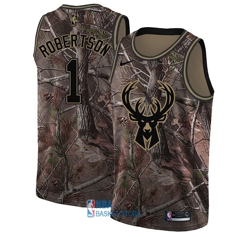 Achat Maillot NBA Milwaukee Bucks NO.1 Oscar Robertson Camo Swingman Collection Realtree 2018