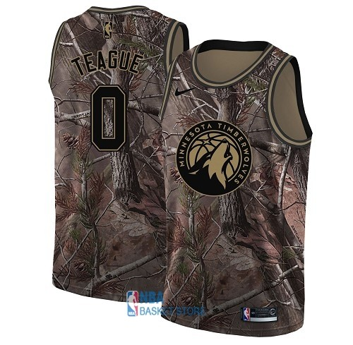 Achat Maillot NBA Minnesota Timberwolves NO.0 Jeff Teague Camo Swingman Collection Realtree 2018