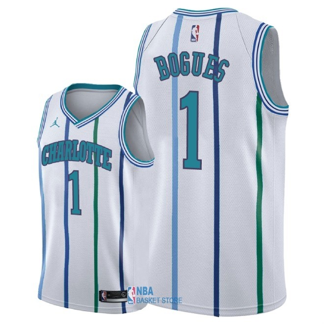 Achat Maillot NBA Nike Charlotte Hornets NO.1 Tyrone Bogues Retro Blanc 2018