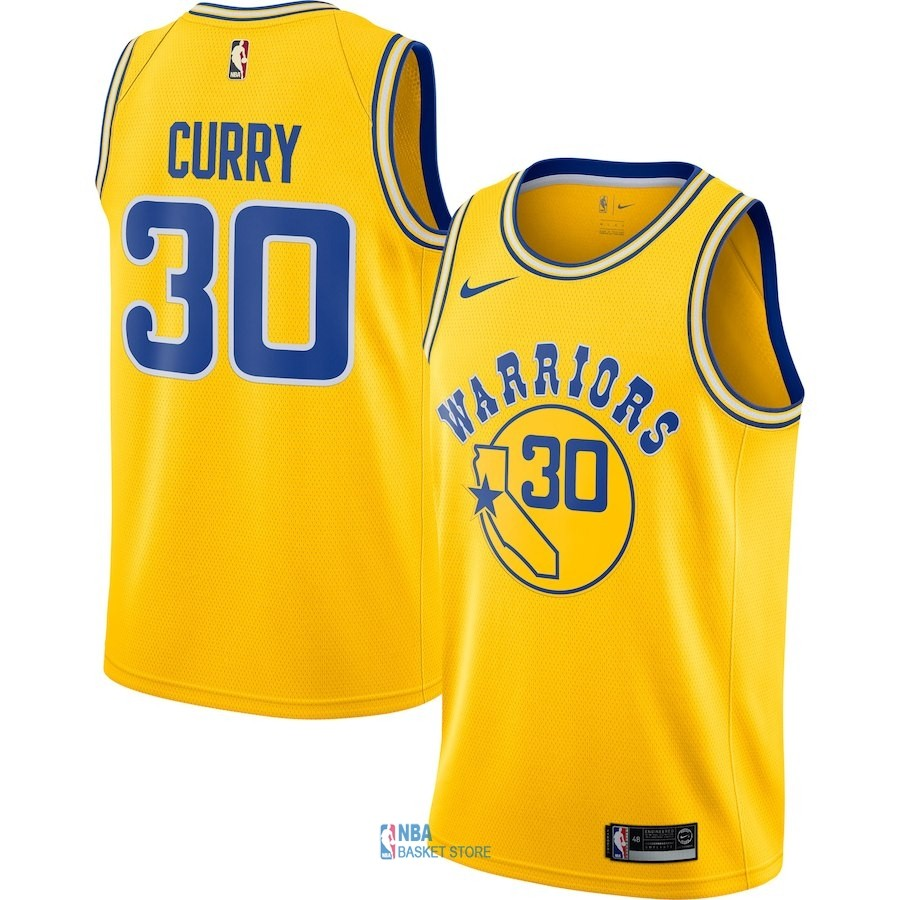 Achat Maillot NBA Nike Golden State Warriors NO.30 Stephen Curry Nike Retro Jaune 2018-19