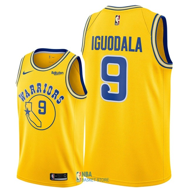 Achat Maillot NBA Nike Golden State Warriors NO.9 Andre Iguodala Retro Jaune 2018-19