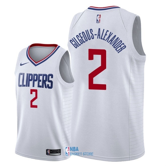 Achat Maillot NBA Nike Los Angeles Clippers NO.2 Shai Gilgeous Alexander Blanc Association 2018