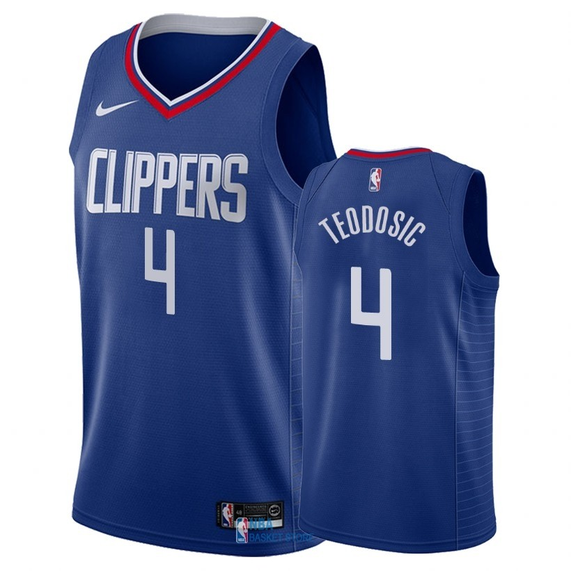 Achat Maillot NBA Nike Los Angeles Clippers NO.4 Milos Teodisic Bleu Icon 2018