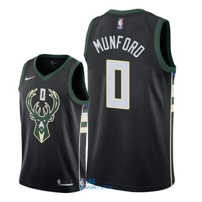 Achat Maillot NBA Nike Milwaukee Bucks NO.0 Xavier Munford Noir Statement 2018