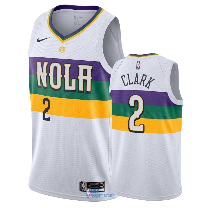 Achat Maillot NBA Nike New Orleans Pelicans NO.2 Ian Clark Nike Blanc Ville 2018-19