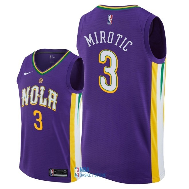 Achat Maillot NBA Nike New Orleans Pelicans NO.3 Nikola Mirotic Nike Pourpre Ville 2018
