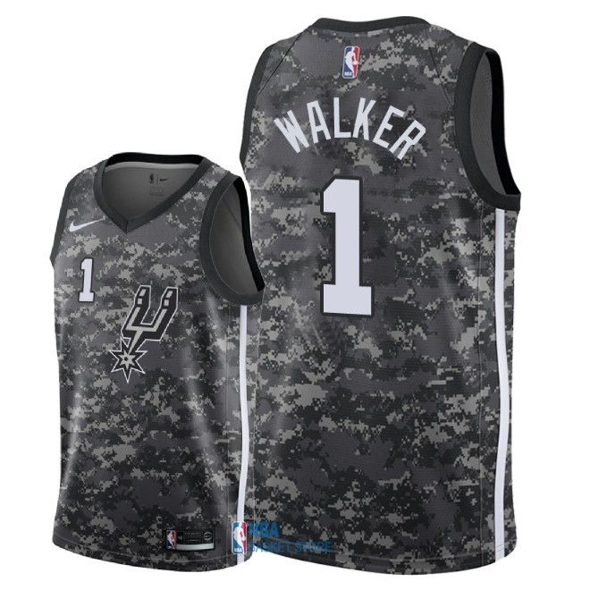 Achat Maillot NBA Nike San Antonio Spurs NO.1 Lonnie Walker Nike Camouflage Ville 2018