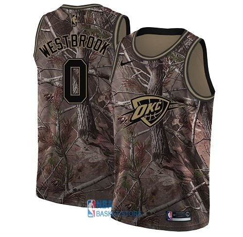 Achat Maillot NBA Oklahoma City Thunder NO.0 Russell Westbrook Camo Swingman Collection Realtree 2018