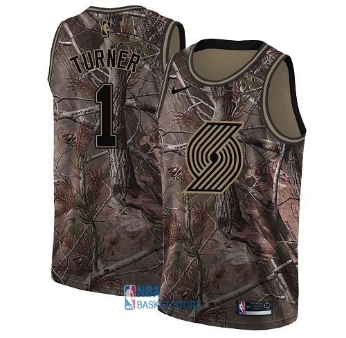 Achat Maillot NBA Portland Trail Blazers NO.1 Evan Turner Camo Swingman Collection Realtree 2018