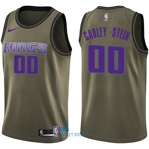 Achat Maillot NBA Service De Salut Sacramento Kings NO.0 Willie Cauley Stein Nike Armée verte 2018