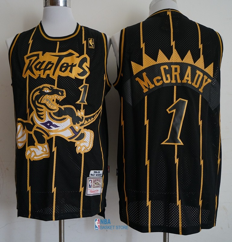 Achat Maillot NBA Toronto Raptors NO.1 Tracy McGrady Retro Or Noir 1998-99