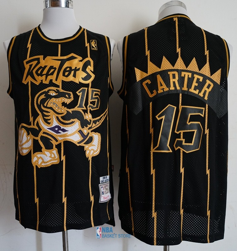 Achat Maillot NBA Toronto Raptors NO.15 Vince Carter Retro Or Noir 1998-99