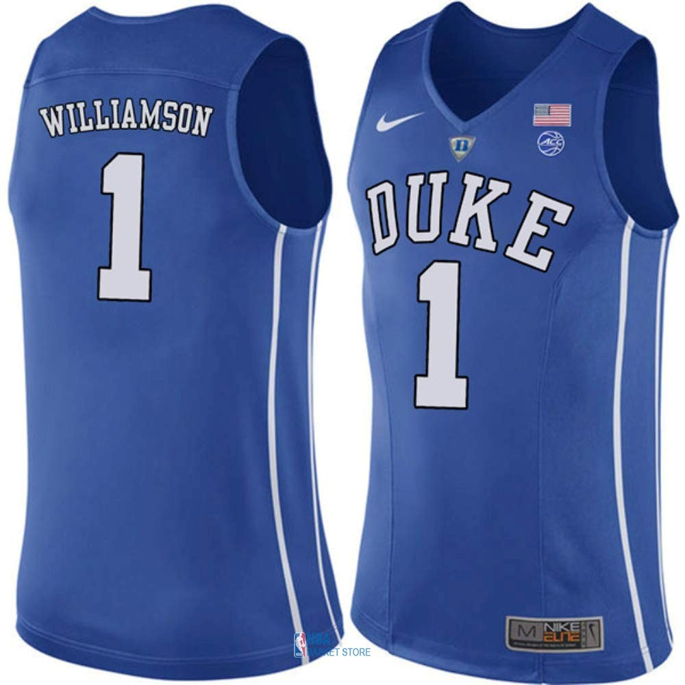 Achat Maillot NCAA Duke NO.1 Zion Williamson Bleu