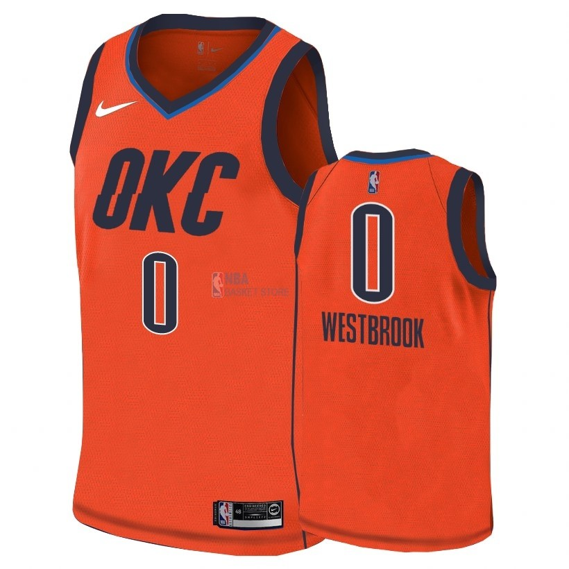 Achat Maillot Earned Edition Oklahoma City Thunder NO.0 Russell Westbrook Orange 2018-19