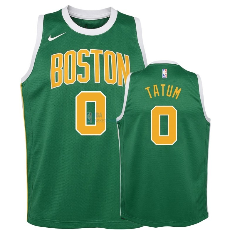 Achat Maillot NBA Enfant Earned Edition Boston Celtics NO.0 Jayson Tatum Vert 2018-19