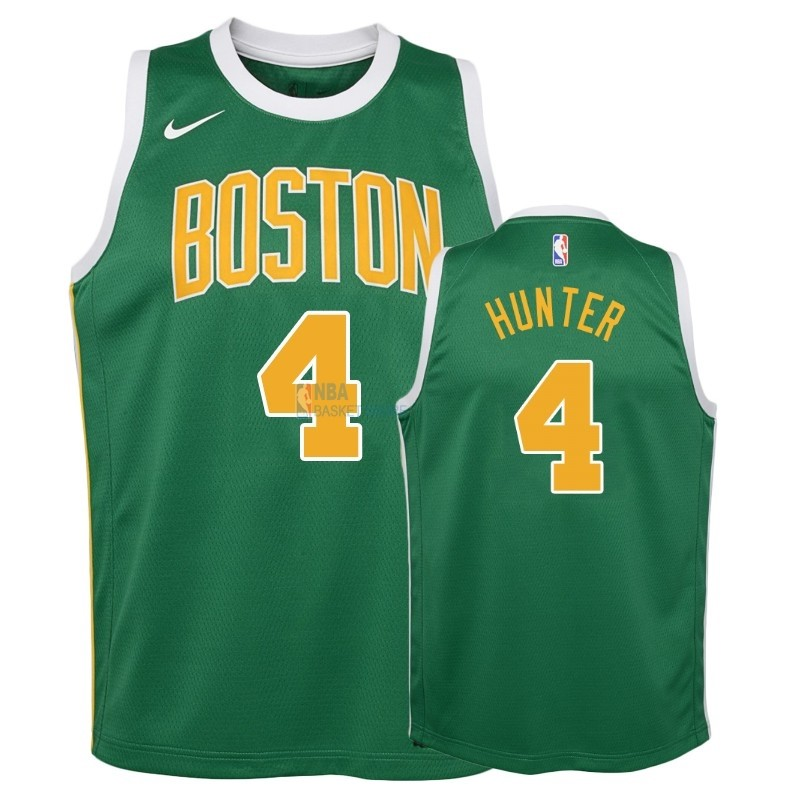 Achat Maillot NBA Enfant Earned Edition Boston Celtics NO.4 R.J. Hunter Vert 2018-19