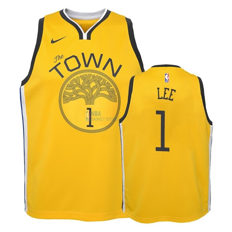 Achat Maillot NBA Enfant Earned Edition Golden State Warriors NO.1 Damion Lee Jaune 2018-19