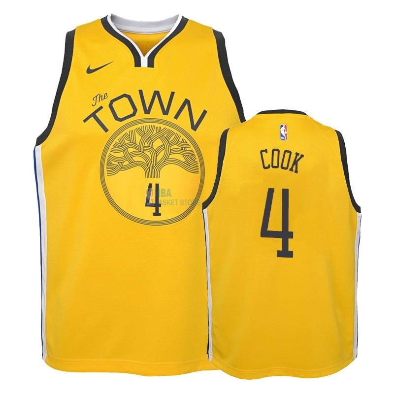 Achat Maillot NBA Enfant Earned Edition Golden State Warriors NO.4 Quinn Cook Jaune 2018-19