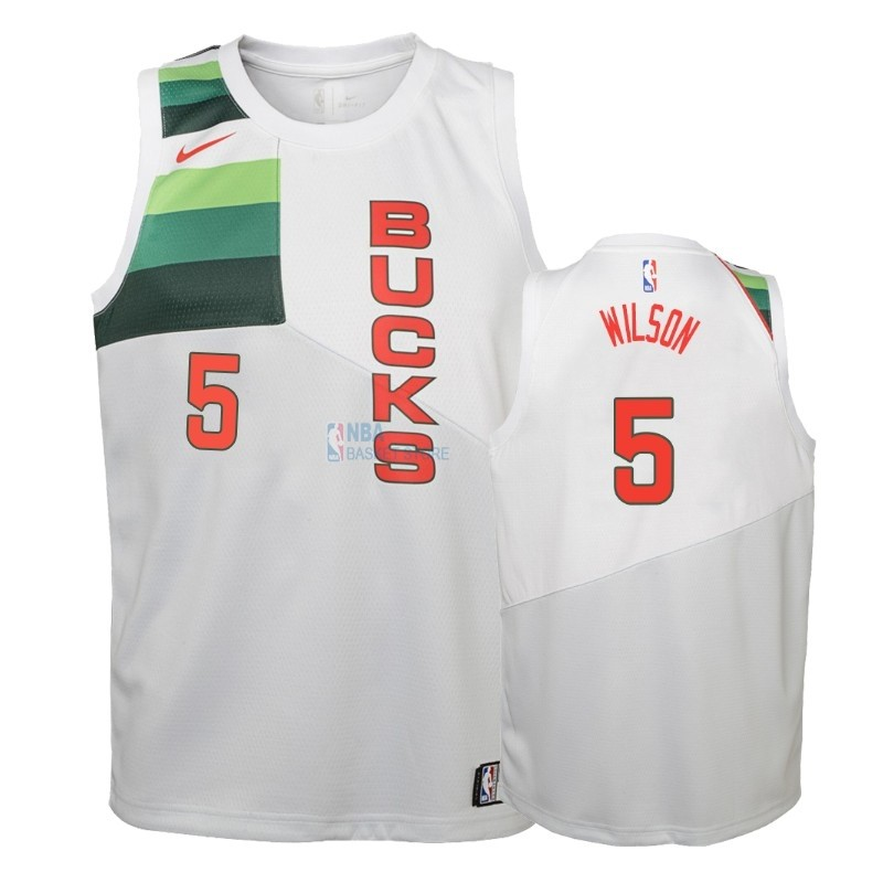 Achat Maillot NBA Enfant Earned Edition Milwaukee Bucks NO.5 D. J. Wilson Blanc 2018-19