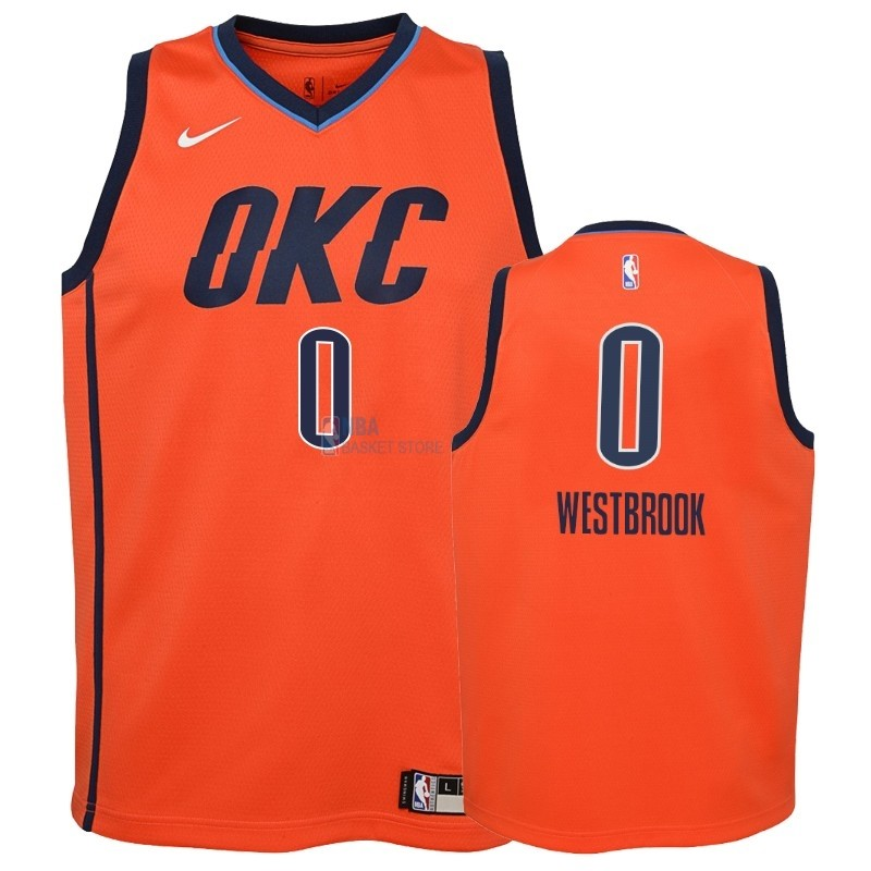 Achat Maillot NBA Enfant Earned Edition Oklahoma City Thunder NO.0 Russell Westbrook Orange 2018-19