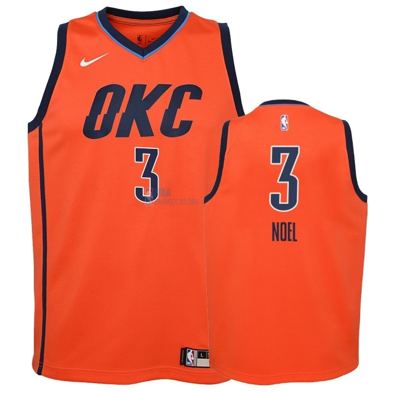 Achat Maillot NBA Enfant Earned Edition Oklahoma City Thunder NO.3 Nerlens Noel Orange 2018-19