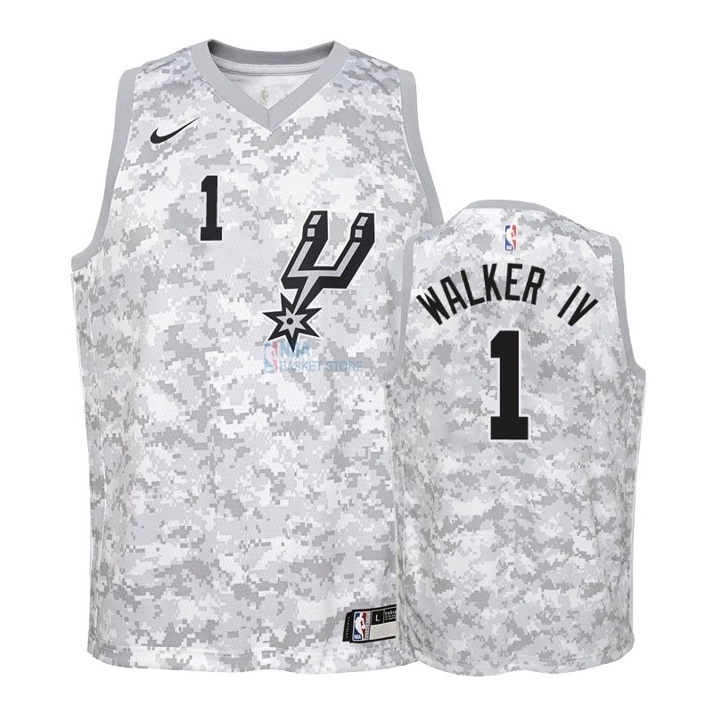 Achat Maillot NBA Enfant Earned Edition San Antonio Spurs NO.1 Lonnie Walker Gris 2018-19