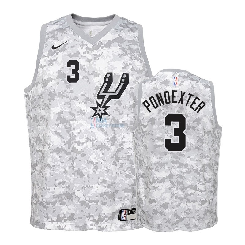 Achat Maillot NBA Enfant Earned Edition San Antonio Spurs NO.3 Quincy Pondexter Gris 2018-19