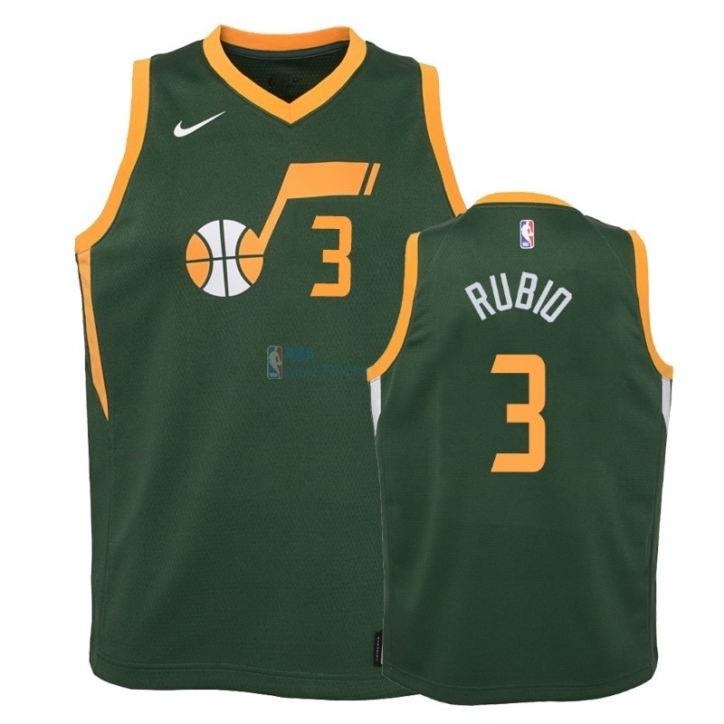 Achat Maillot NBA Enfant Earned Edition Utah Jazz 2NO.3 Ricky Rubio Vert 2018-19