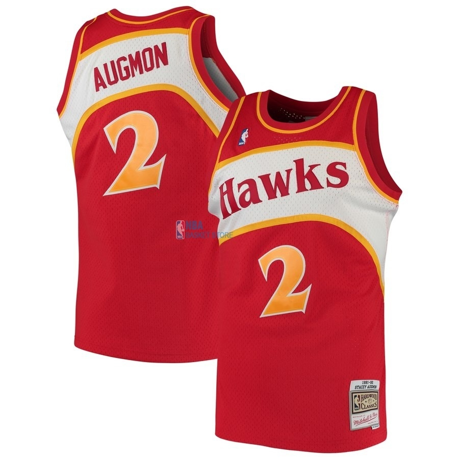 Achat Maillot NBA Atlanta Hawks NO.2 Stacey Augmon Rouge Hardwood Classics 1991-92